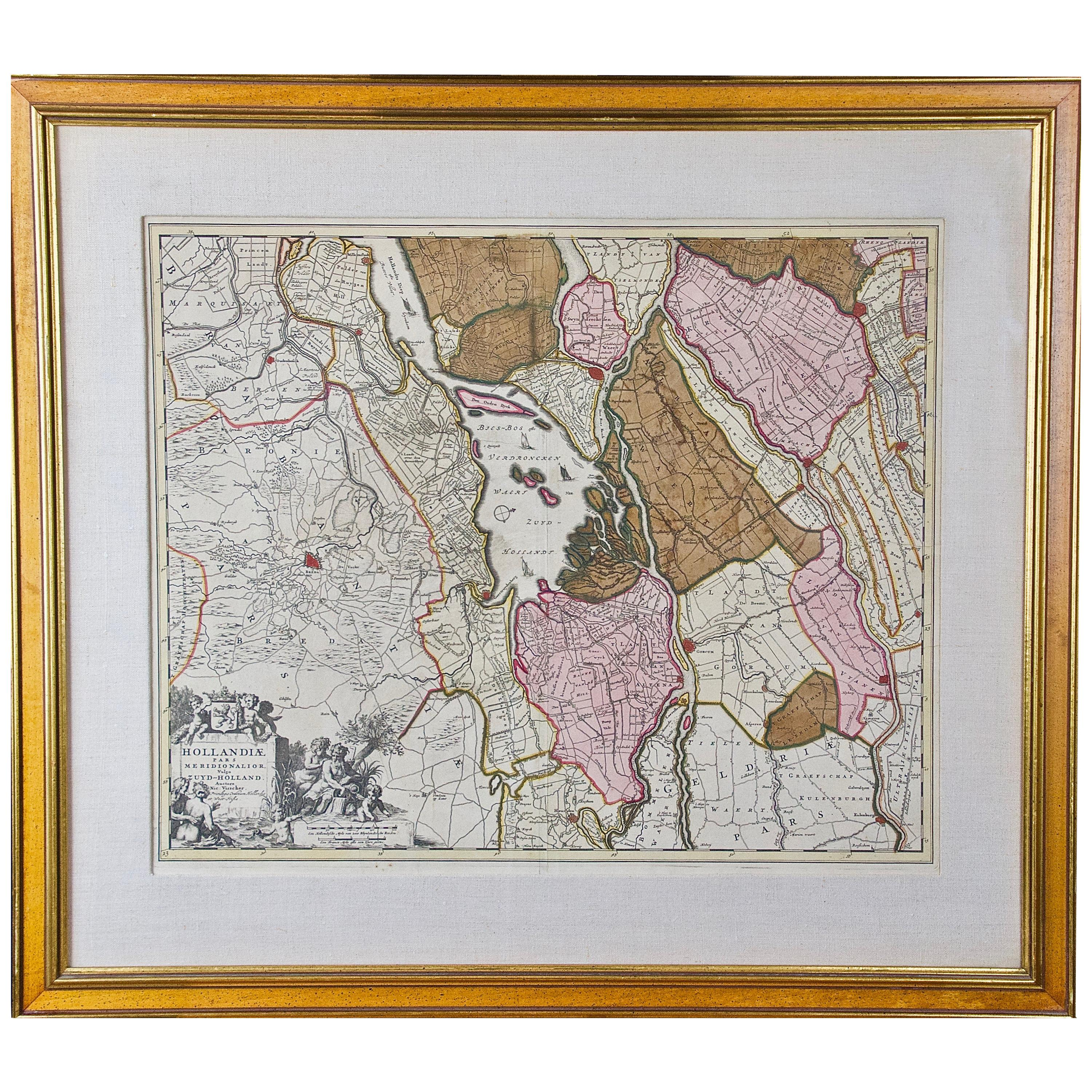"""Hand Colored 17th Century Visscher Map """"Hollandiae"""" Southern Holland"""