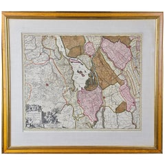 "Hand Colored 17th Century Visscher Map ""Hollandiae"" Southern Holland"