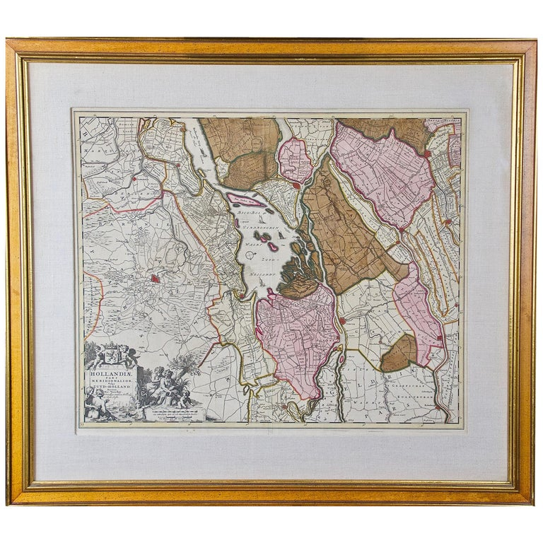 """Hand Colored 17th Century Visscher Map """"Hollandiae"""" Southern Holland For Sale"""