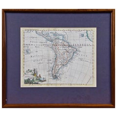 Hand Colored 18th Century Framed Map of South America by Thomas Jefferys