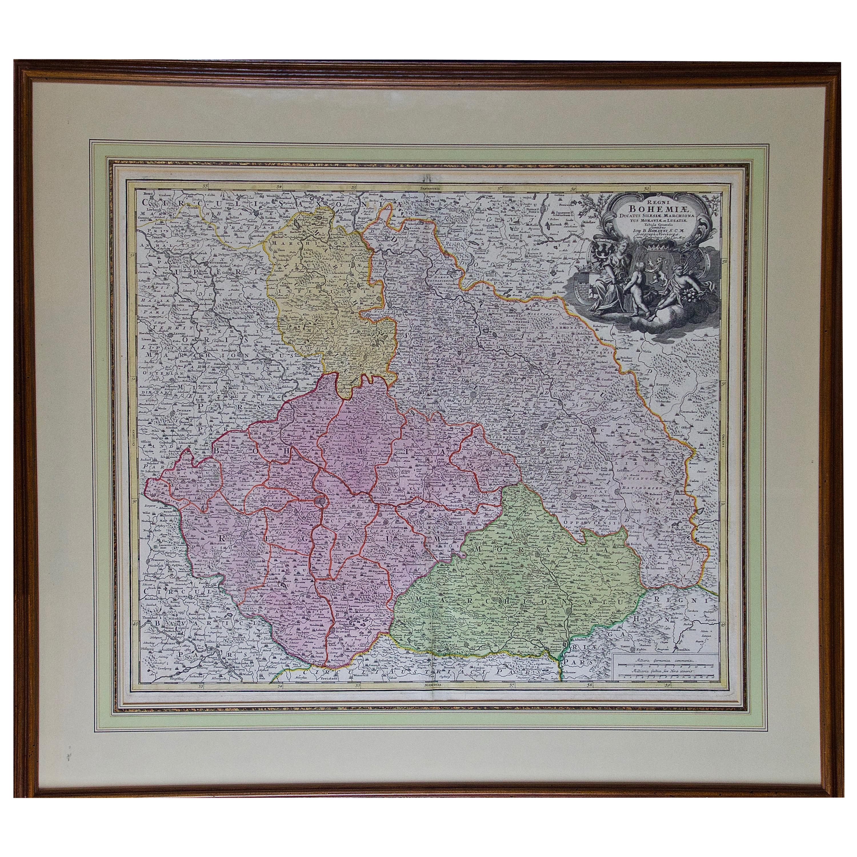 """Hand Colored 18th Century Homann Map """"Bohemiae"""" of the Modern Day Czech Republic"""