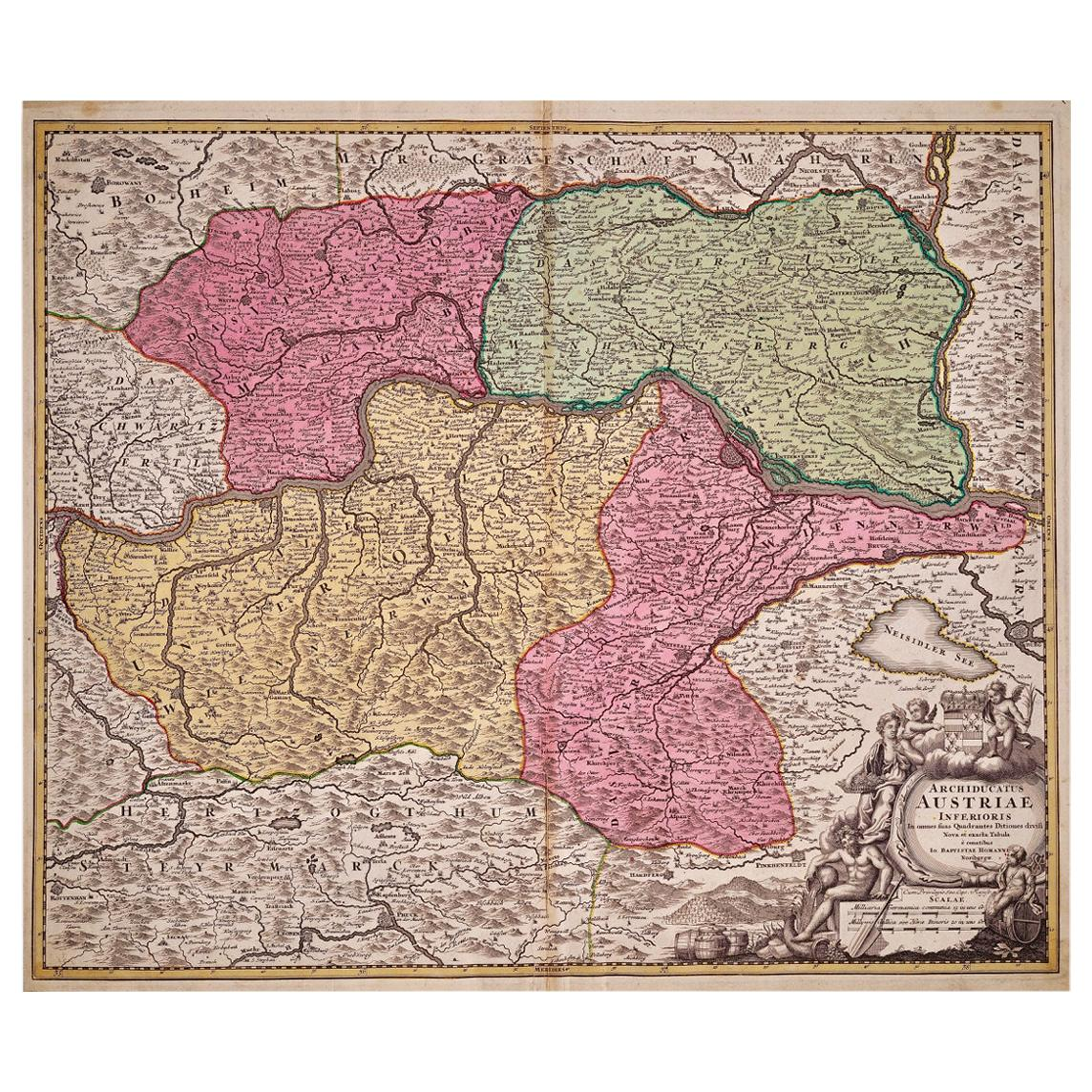 Hand Colored 18th Century Homann Map of Austria Including Vienna and the Danube