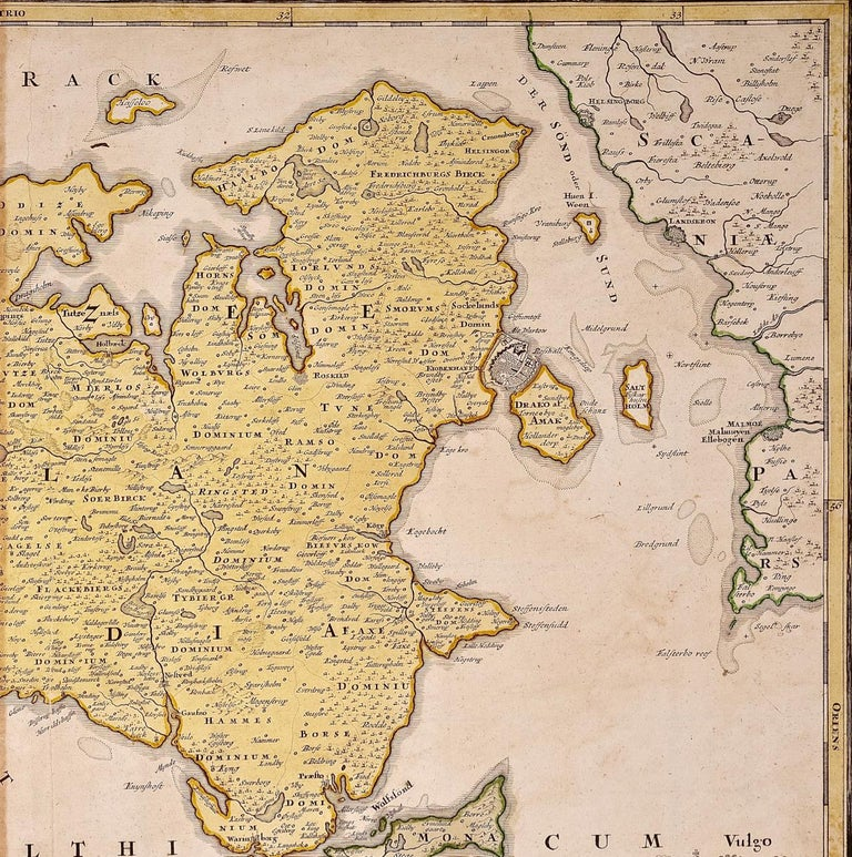 German Hand-Colored 18th Century Homann Map of Denmark and Islands in the Baltic Sea For Sale
