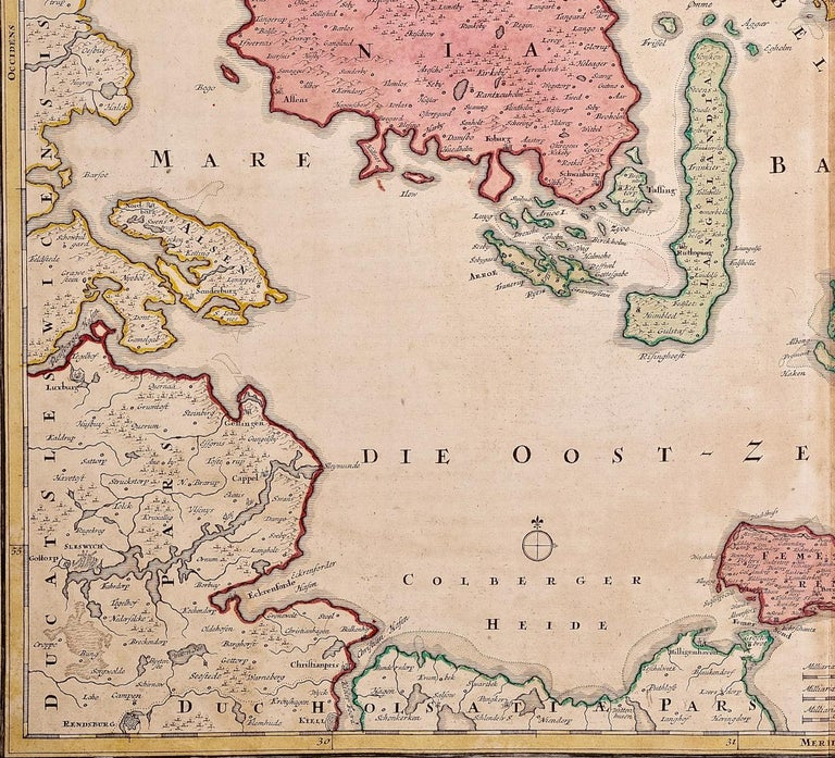 Engraved Hand-Colored 18th Century Homann Map of Denmark and Islands in the Baltic Sea For Sale