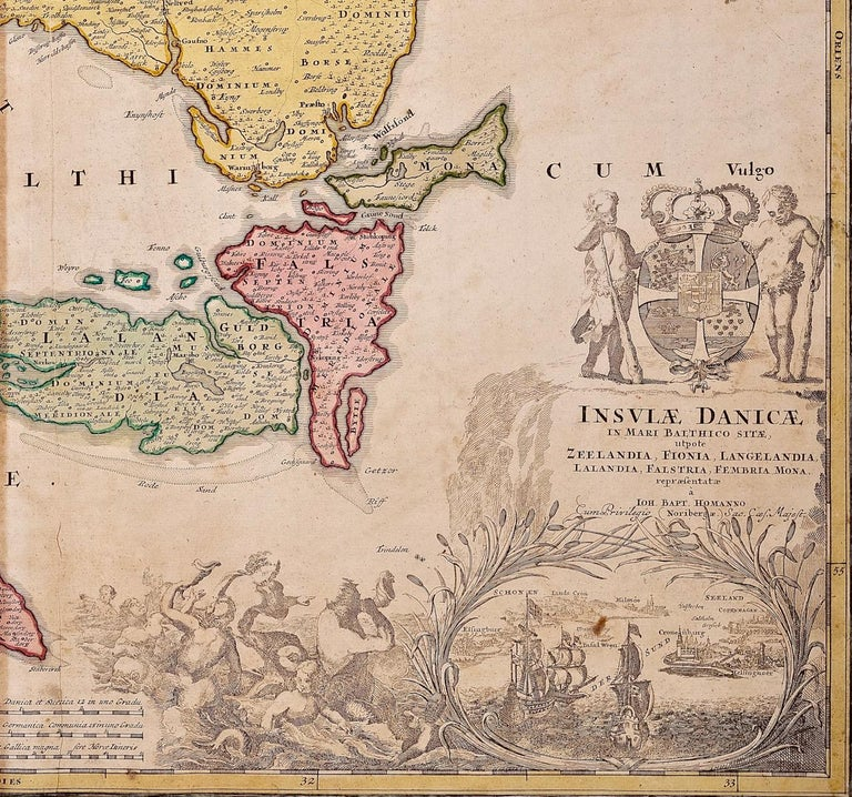 Hand-Colored 18th Century Homann Map of Denmark and Islands in the Baltic Sea In Good Condition For Sale In Alamo, CA