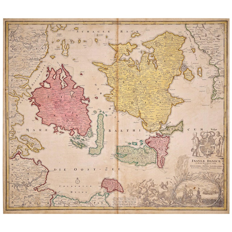 Hand-Colored 18th Century Homann Map of Denmark and Islands in the Baltic Sea For Sale