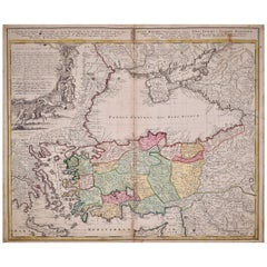 Hand-Colored 18th Century Homann Map of the Black Sea, Turkey and Asia Minor