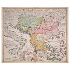 Hand-Colored 18th Century Homann Map of the Danube, Italy, Greece, Croatia