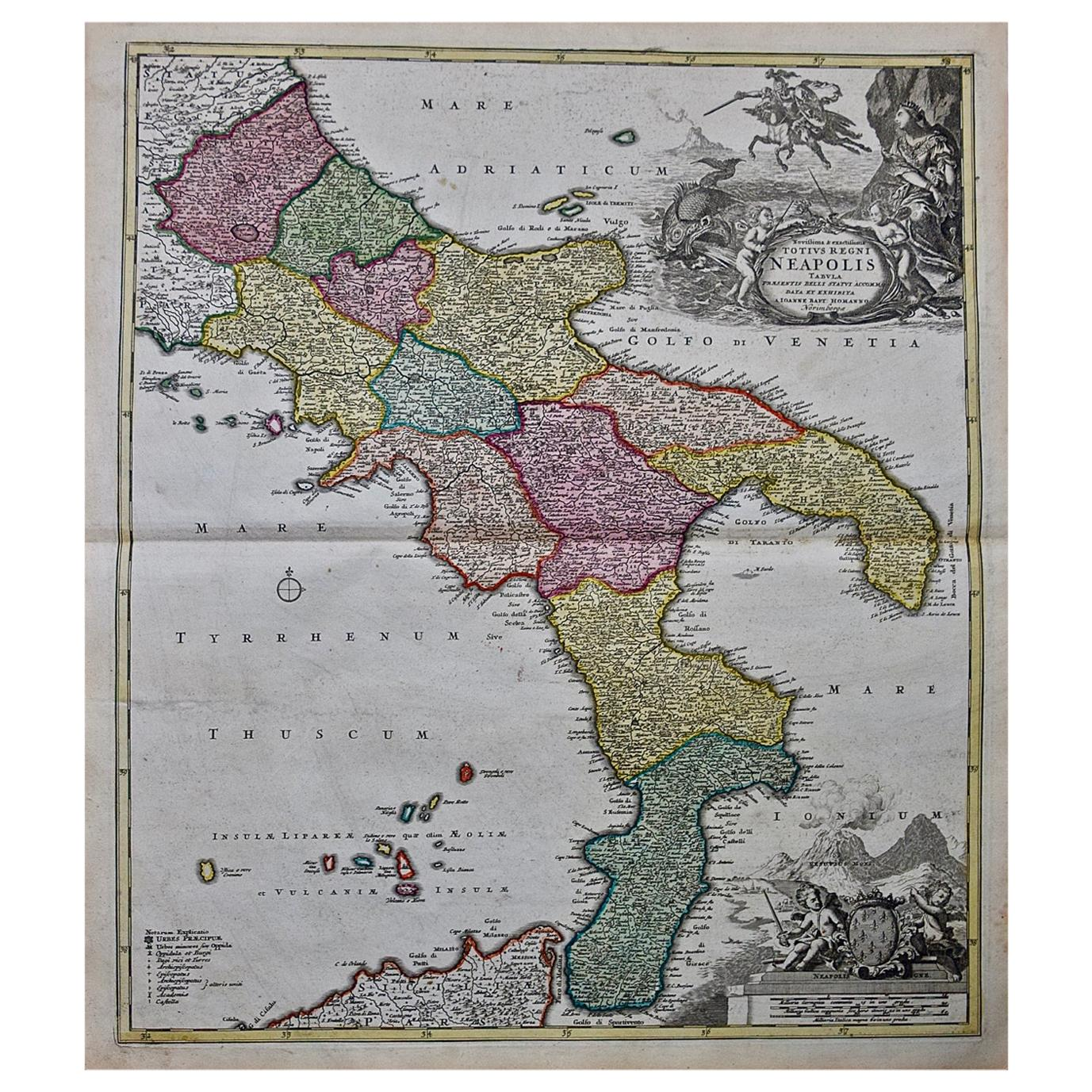 Hand-Colored 18th Century Homann Map of The Kingdom of Naples and Southern Italy