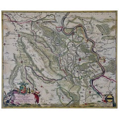 Hand-Colored 18th Century Map of Germany West of the Rhine by de Wit