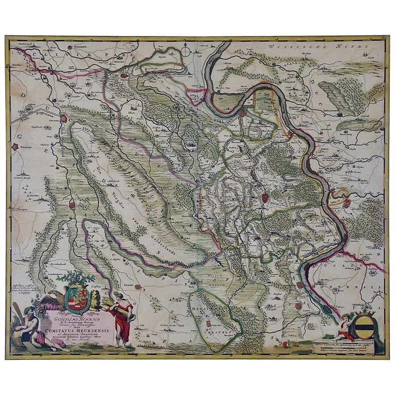 Hand-Colored 18th Century Map of Germany West of the Rhine by de Wit For Sale