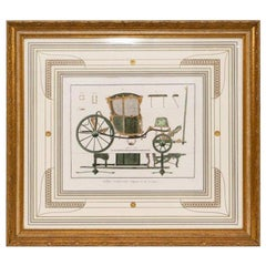 Hand Colored French Engraving of Carriage