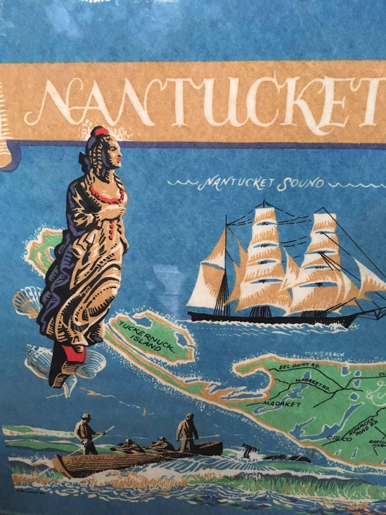 Vintage hand colored map of Nantucket by Sol Levenson (1910-2006), an extremely rare decorative map of Nantucket Island, printed on non-woven fabric (quilting interface fabric) and hand colored and detailed, hand signed in the lower right and