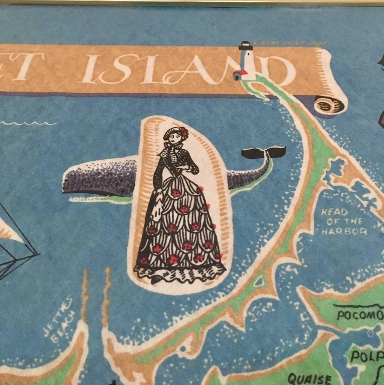 Folk Art Hand Colored Map of Nantucket by Sol Levenson, 1981 For Sale