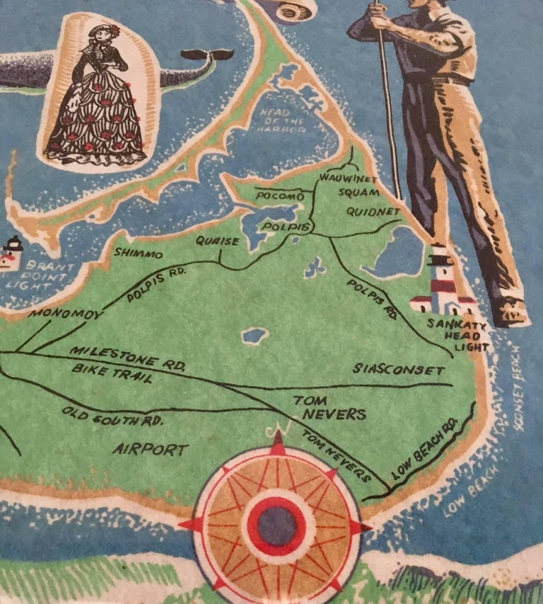 Hand-Painted Hand Colored Map of Nantucket by Sol Levenson, 1981 For Sale