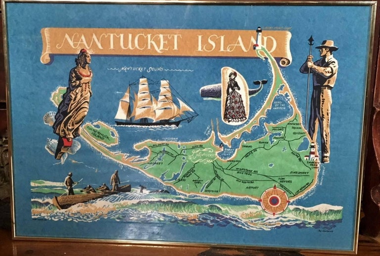 Paper Hand Colored Map of Nantucket by Sol Levenson, 1981 For Sale
