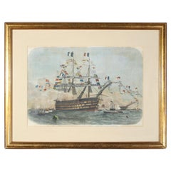 Hand Colored Print of the French Ship Bretagne During the 1858 Cherbourg Fetes