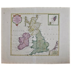 Hand Colored Tirion Map of Great Britain: England, Scotland & Ireland