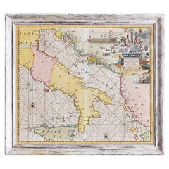 Hand-Colored Vintage Map of Venice, Italy, 'Late 18th Century'