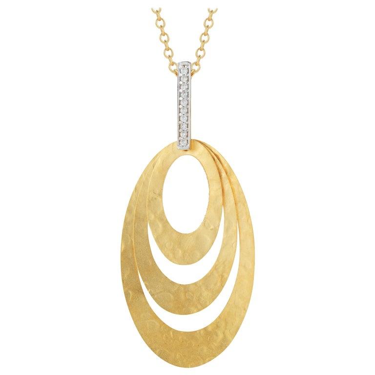 Yellow Gold Circular Hammer Finished Pendant