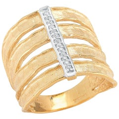 Handcrafted 14 Karat Yellow Gold Hammered Cut-Out Cigar Ring