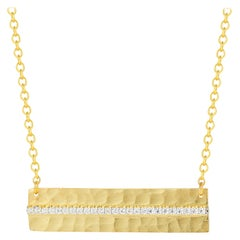 Handcrafted 14 Karat Yellow Gold Hammered East-to-West Necklace