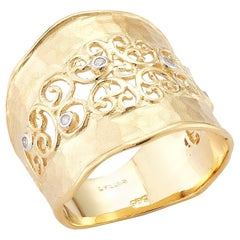 Handcrafted 14 Karat Yellow Gold Hammered Filigree Cigar Ring