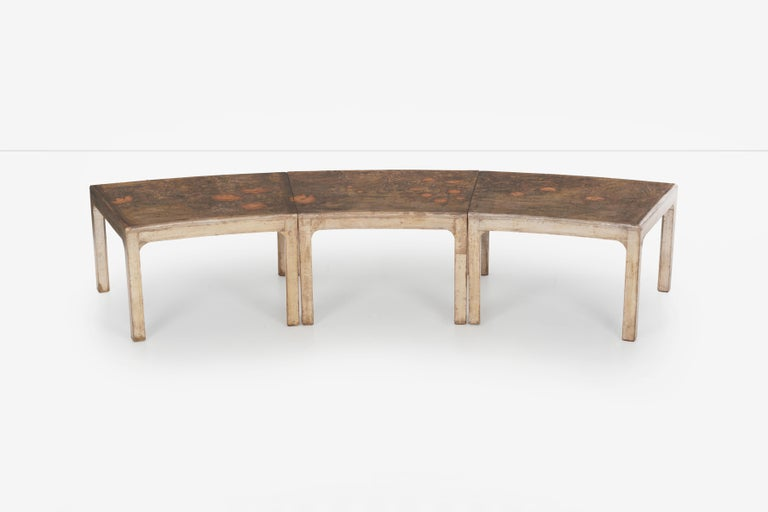 Mid-Century Modern Handcrafted and Painted Max Kuehne Coffee Tables Set of Three For Sale