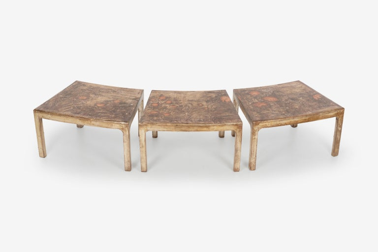 Hand-Carved Handcrafted and Painted Max Kuehne Coffee Tables Set of Three For Sale