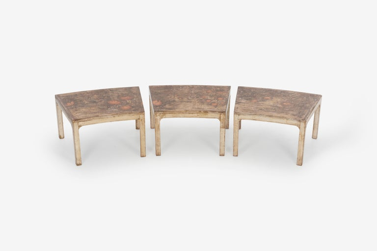 Handcrafted and Painted Max Kuehne Coffee Tables Set of Three In Good Condition For Sale In Chicago, IL