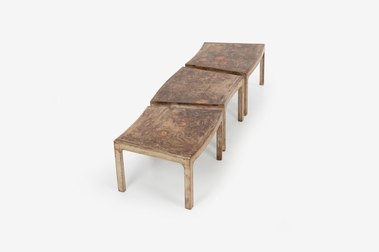 Mid-20th Century Handcrafted and Painted Max Kuehne Coffee Tables Set of Three For Sale