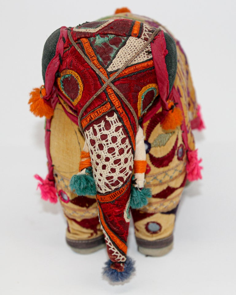 Hand-Crafted Anglo Raj Vintage Stuffed Cotton Embroidered Elephant, India 1950 For Sale 5
