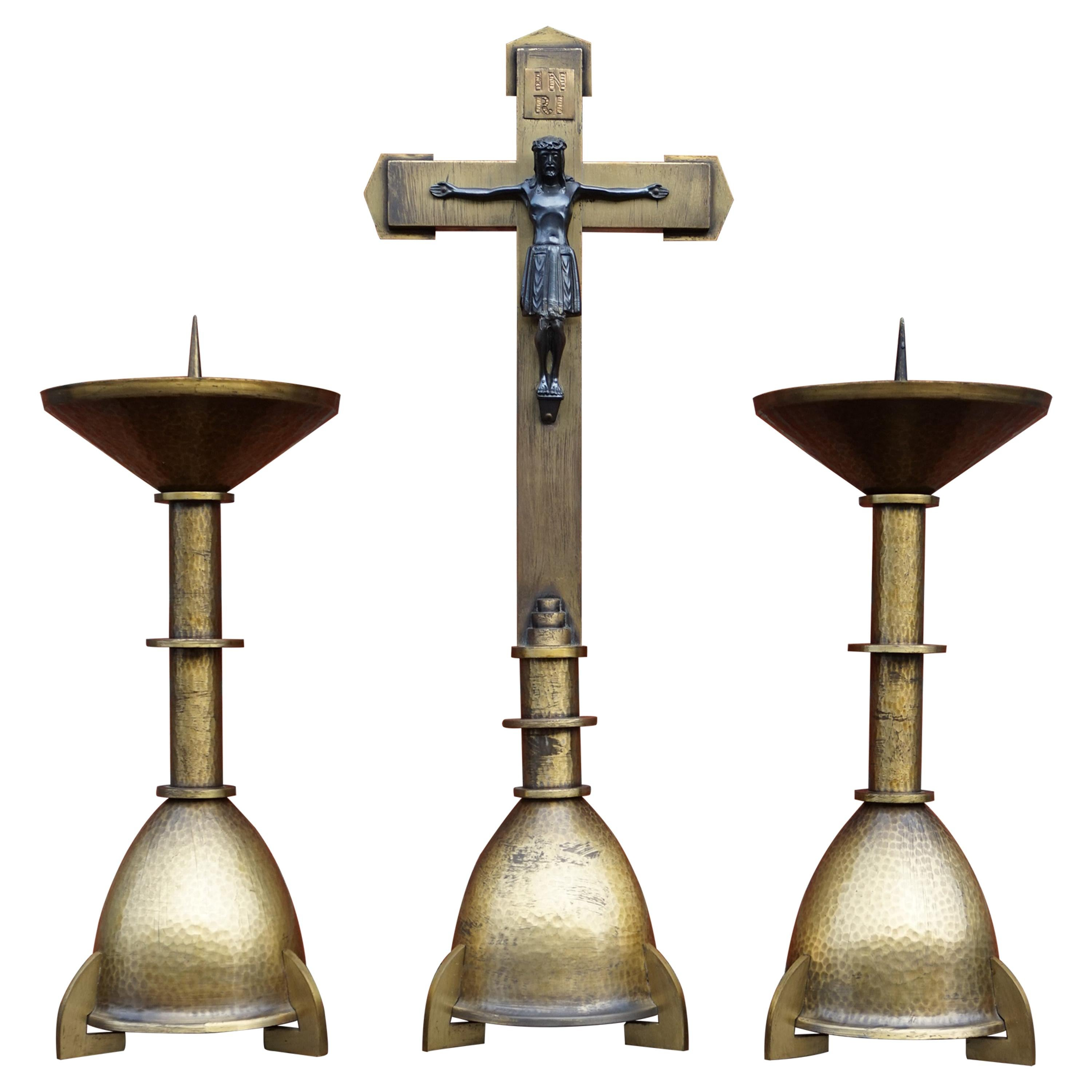 Handcrafted Antique Dutch Arts & Crafts Altar Crucifix with Pair of Candlesticks