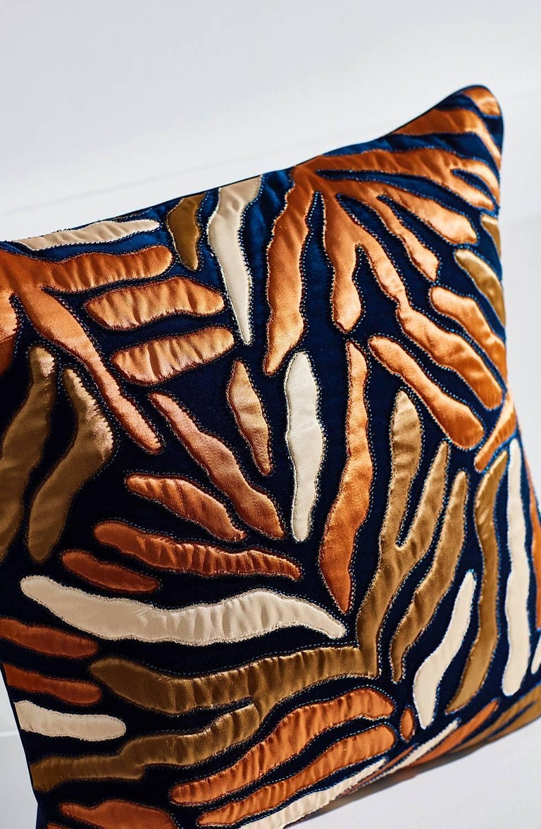 Modern Handcrafted Appliqué Navy Blue Velvet Pillow Embroidered Abstract Leaf Design For Sale