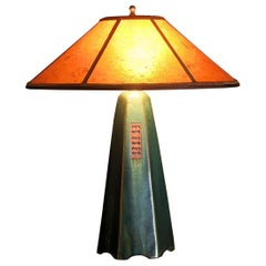 Handcrafted Artisan Stoneware Lamp in Moss Glaze with Amber Mica Shade