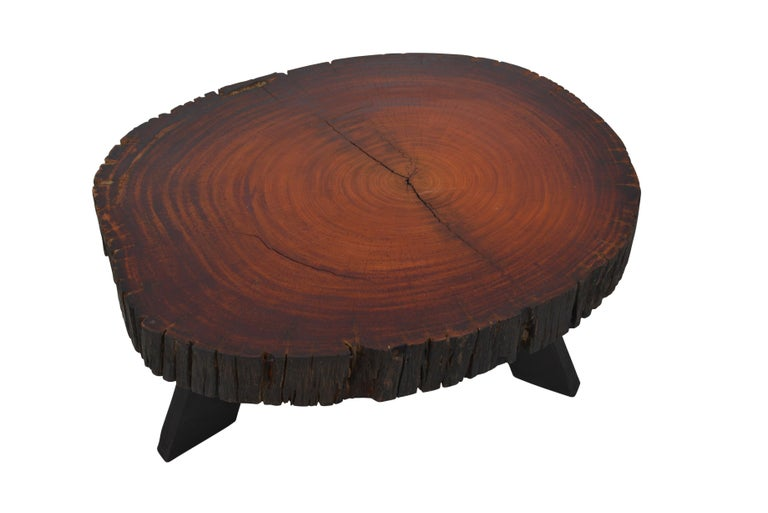 Handcrafted Belgian Tree Trunk Table For Sale 1