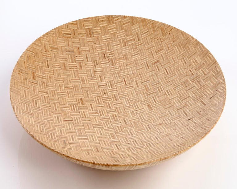 Inlaid bowl handcrafted in stack-laminated Brazilian hardwood. Designed and made by Julia Krantz, Sao Paulo, Brazil, 2007.