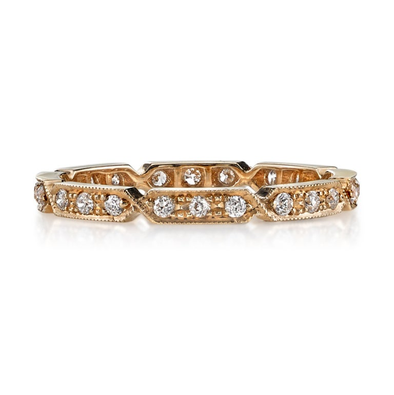 Approx. 0.30 Carat Old European Cut Diamonds Set in a Gold Eternity Band In New Condition For Sale In Los Angeles, CA