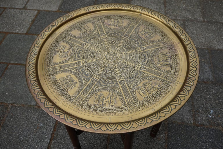 Handcrafted Egyptian Revival Brass Tray Table with Islamic Design Wooden Base For Sale 9