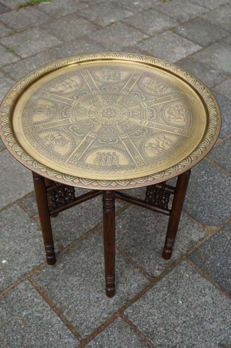Handcrafted Egyptian Revival Brass Tray Table with Islamic Design Wooden Base For Sale 10