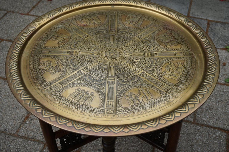 Handcrafted Egyptian Revival Brass Tray Table with Islamic Design Wooden Base For Sale 14