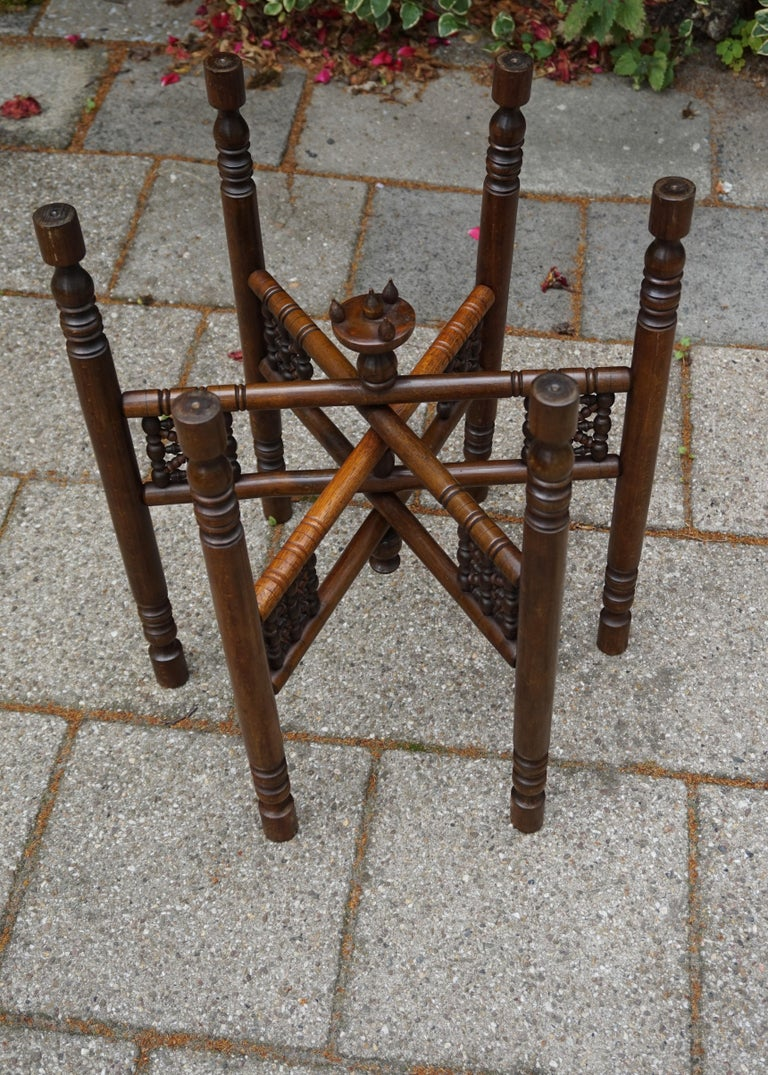 European Handcrafted Egyptian Revival Brass Tray Table with Islamic Design Wooden Base For Sale