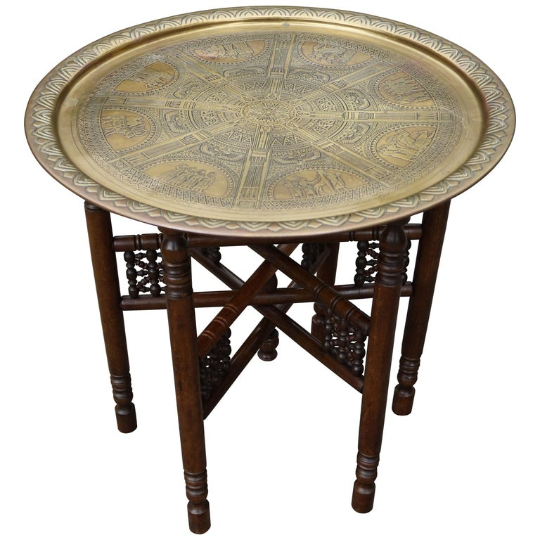 Handcrafted Egyptian Revival Brass Tray Table with Islamic Design Wooden Base For Sale