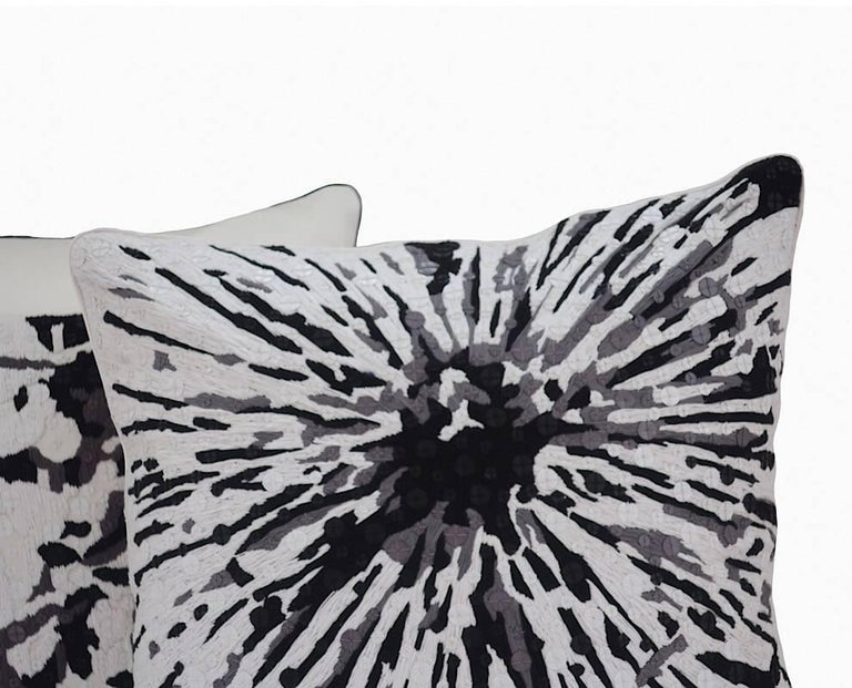 Contemporary Handcrafted Embroidered Pillow Black White and Grey Floral For Sale