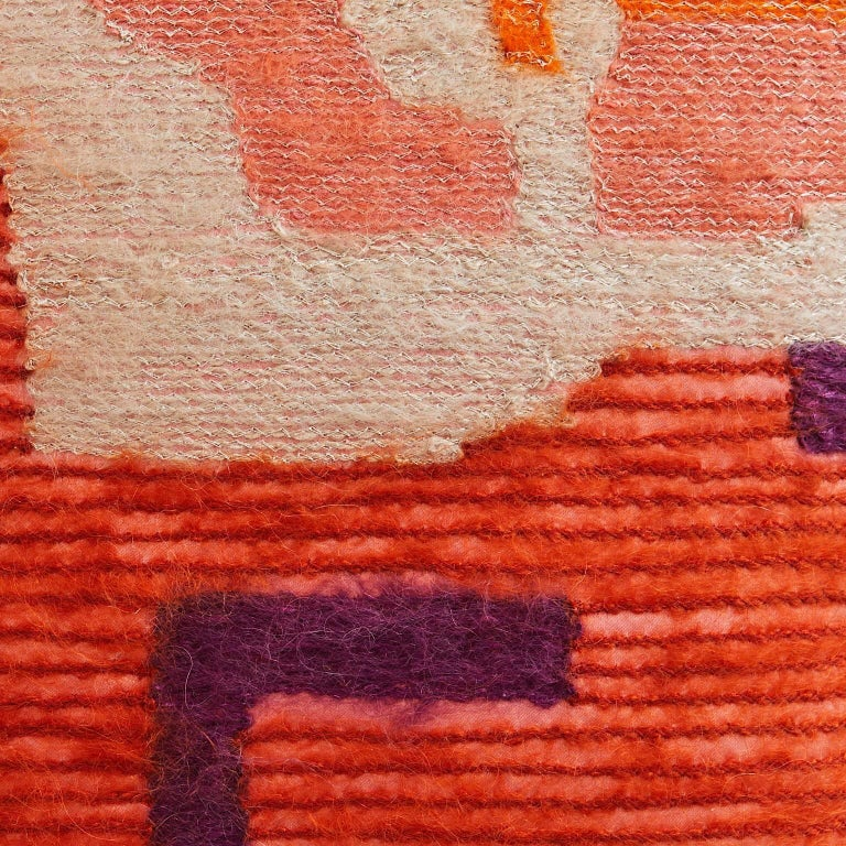 Handcrafted pillow embroidered in orange mohair wool yarn on orange satin. Abstract design with coral, aubergine and beige details. Highlight of pale gold metallic yarn. Also available in other color ways.