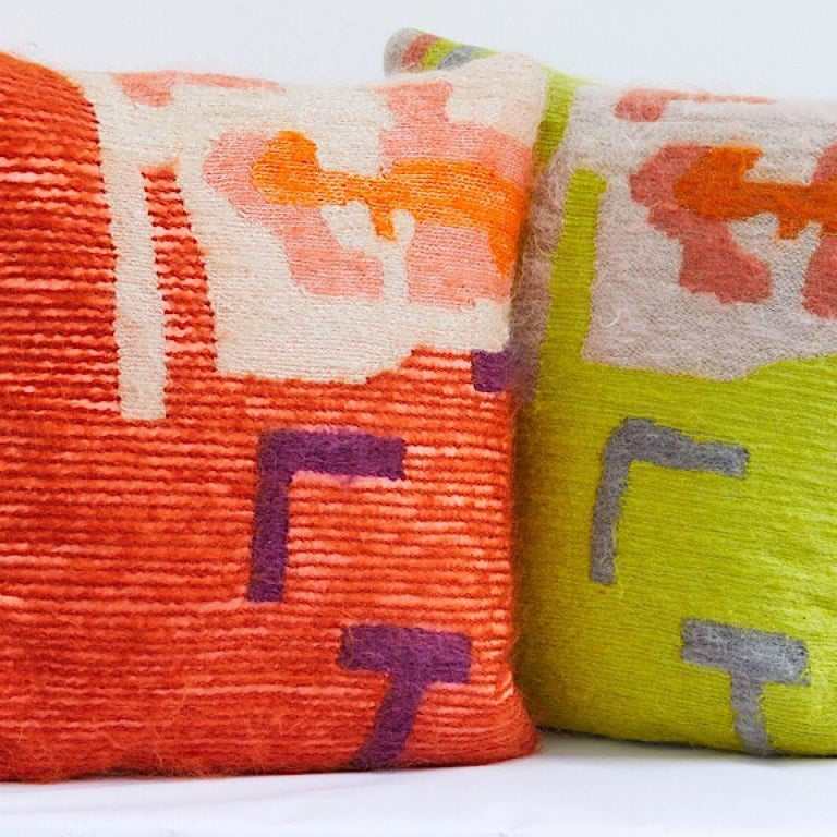 English Handcrafted Embroidered Pillow Orange Gold and Beige Wool Yarn For Sale