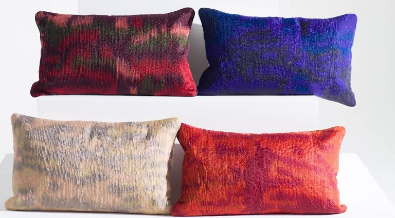 Handcrafted Embroidered Ribbon Work Pillow Ombré Navy Blue Electric Blue In New Condition For Sale In London, GB