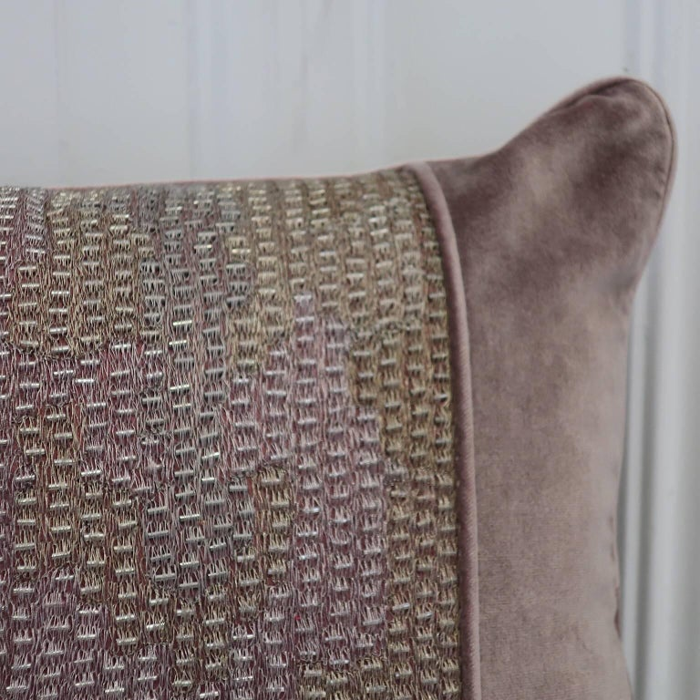 Handcrafted beaded and embroidered velvet pillow.