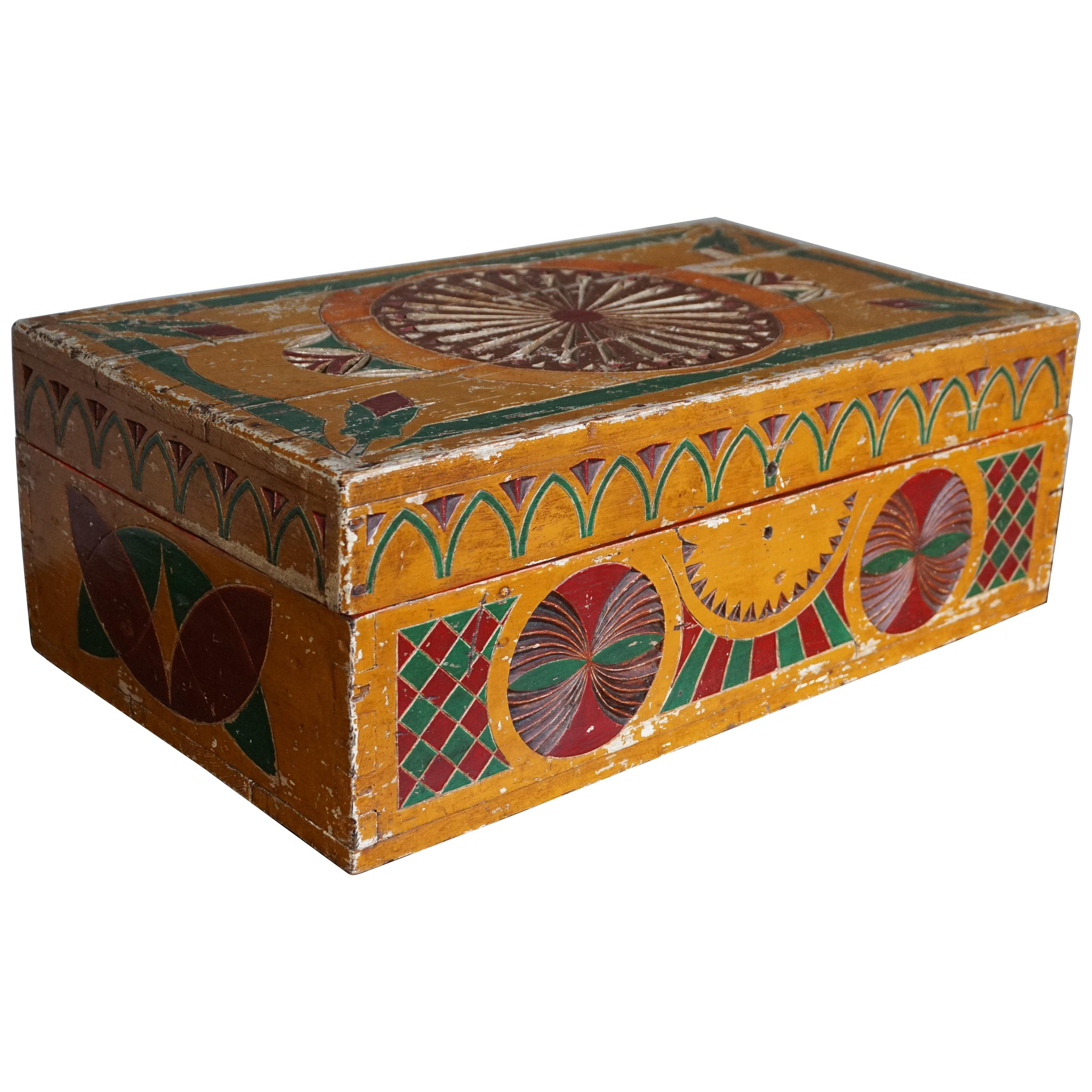 Hand-Crafted, Hand Carved & Hand Painted Arts and Crafts Box w. Stylized Flowers