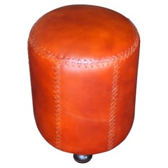 Handcrafted Hand Stitched High Quality Leather Stool for Upscale Penthouses